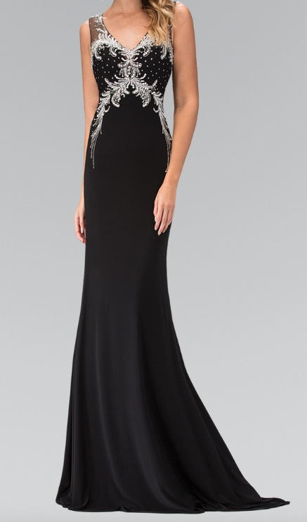 59a3731b029 Black V-Neckline Crystal Waist with Sheer Back Evening Gown – Deanna ...
