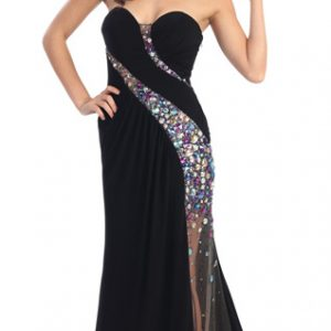 Sweetheart Crystal Sequins Illusion Slit Evening Gown