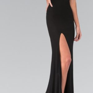 Glamour Girl Rhinestone Evening Gown with Illusion Back and Train