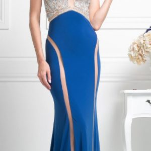 Royal Blue Crystal Bodice with Illusion Double Front Slits Evening Gown