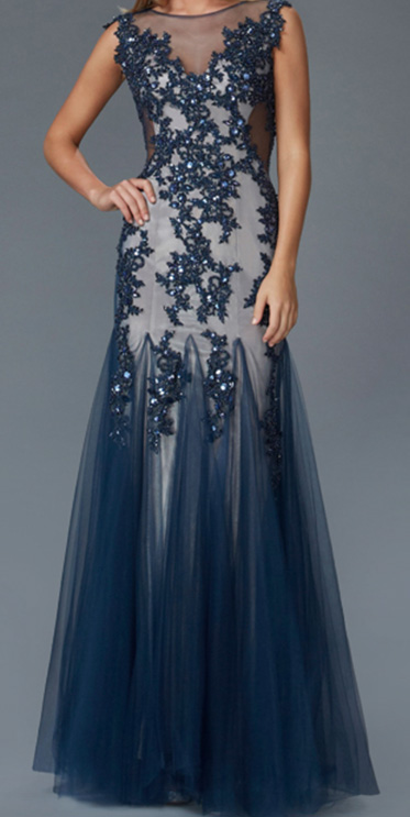 Blue Lace Crystal Ball Gown