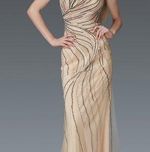 Nude Sequins Embellished V-Neckline Evening Gown