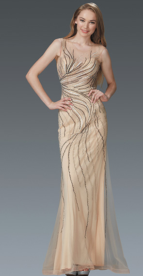 Nude Sequins Embellished V-Neckline Evening Gown