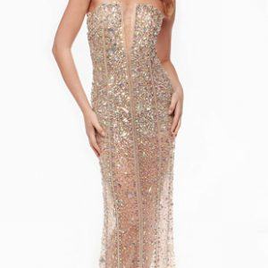 Full Crystal Beading Bodice Waist and Skirt Evening Gown