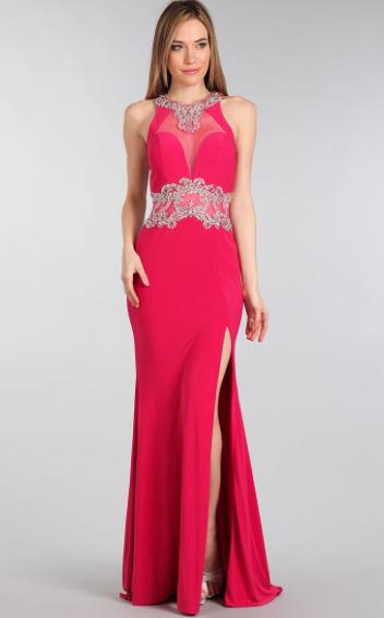 Fuchsia Bejeweled Semi Sheer Back Ball Gown