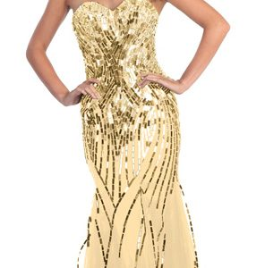 Sequins Embellished Sweetheart Neckline Evening Gown