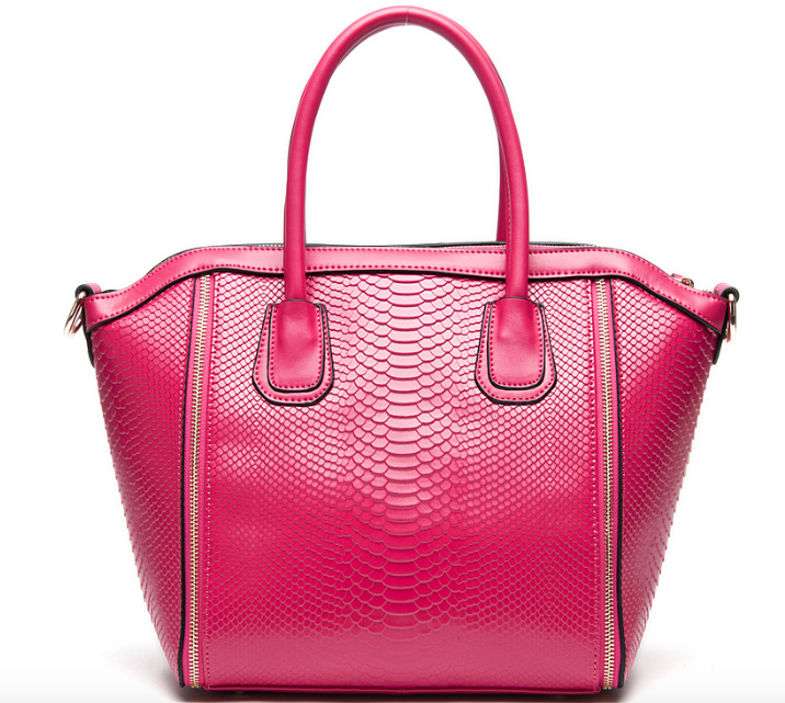 Pink Panther Croc Embossed Leather Handbag