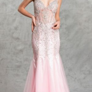 Elegant Beaded Sheer Boning Ball Gown