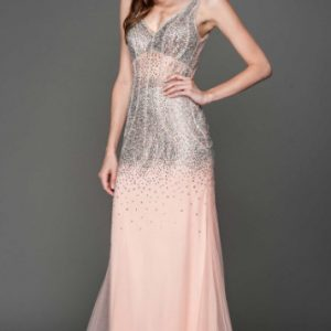V Neck Gemstone Embellished Ball Gown
