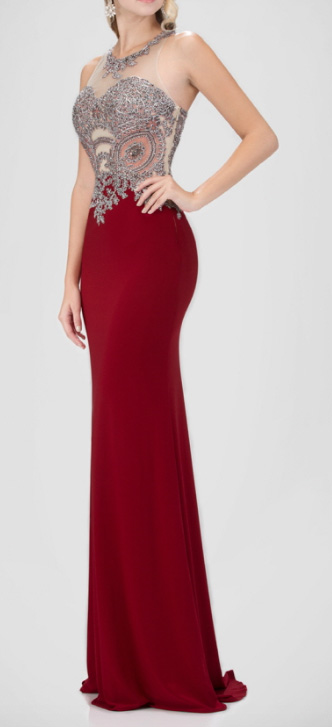 Va-va-va-voom Crystal Bodice Sheer Back Evening Gown