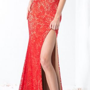 Red Lace Embellished Sweetheart Rounded Neckline with Slit Evening Gown