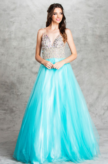 Cinderella Rhinestone V Neckline Ball Gown