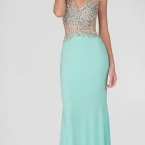 Mint Green Deep V-Neck Back with Sequins and Crystals