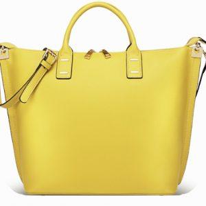 Italian Leather Canary Yellow Handbag