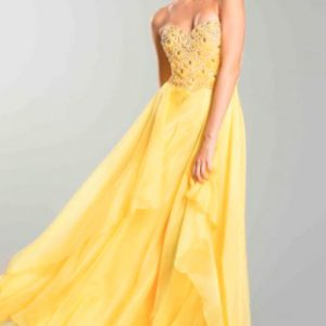 Yellow Sweetheart Gemstone Bodice Ball Gown