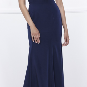 Navy Beaded Capelet Gown