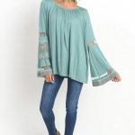 Bell sleeve embroidered tunic top