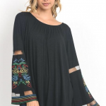 Solid bell sleeve embroidered top
